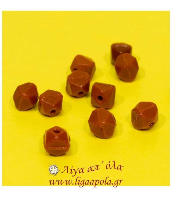 Χάντρες κεραμιδί γυάλινες πολύγωνες (100τεμ) - Λίγα απ' όλα