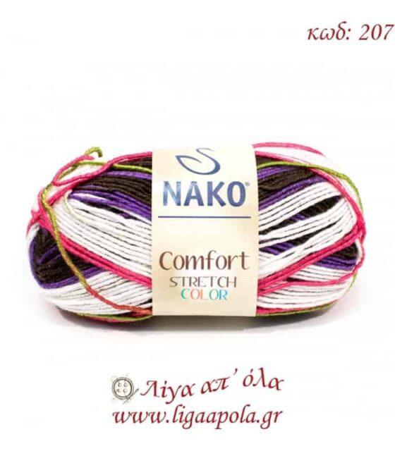 Comfort Stretch Color - Nako - Λίγα απ' όλα - No 207 Λευκό φουξ πράσινο καφέ μοβ
