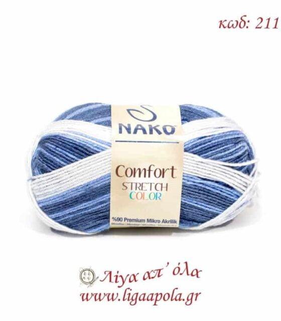 Comfort Stretch Color - Nako - Λίγα απ' όλα - Νο 211 Λευκό σιελ μπλε ραφ