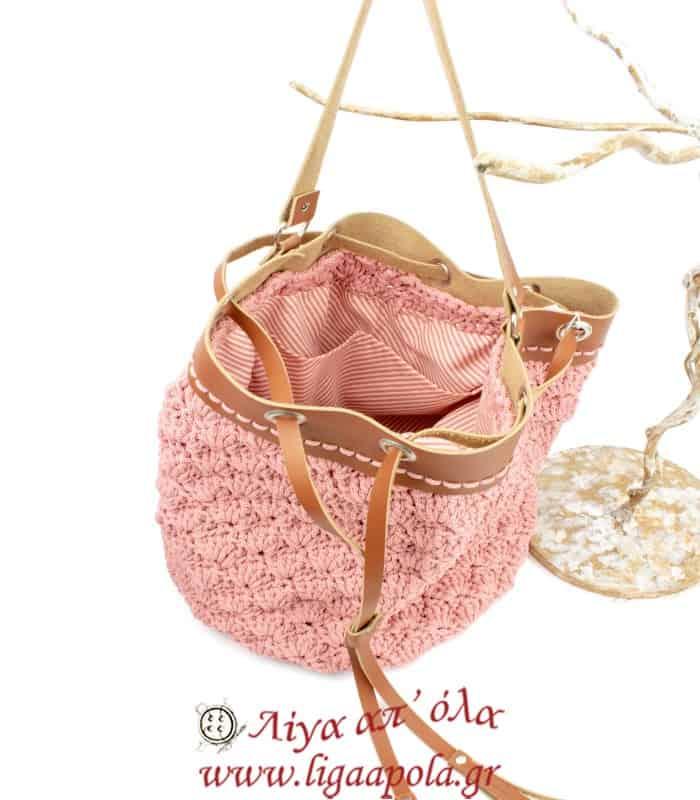 Τσάντα πλεκτή ΠΟΥΓΚΙ ώμου σάπιο μήλο + ταμπά Handmade - Λίγα απ' όλα