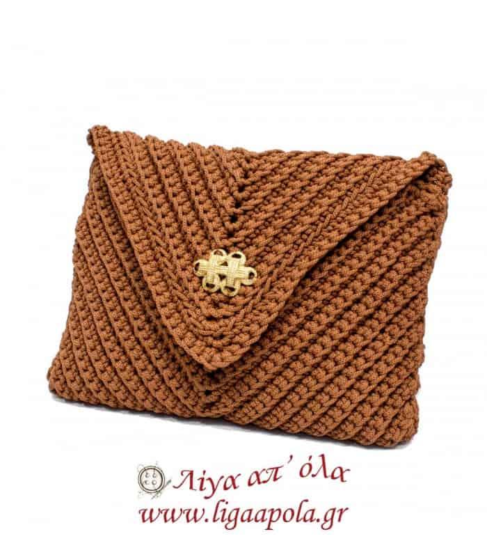 Τσάντα πλεκτή φάκελος κεραμιδί Handmade - Λίγα απ' όλα