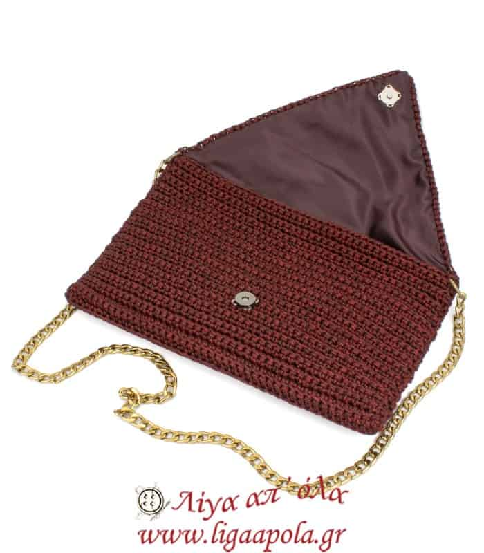 Τσάντα πλεκτή φάκελος μπορντό Handmade - Λίγα απ' όλα