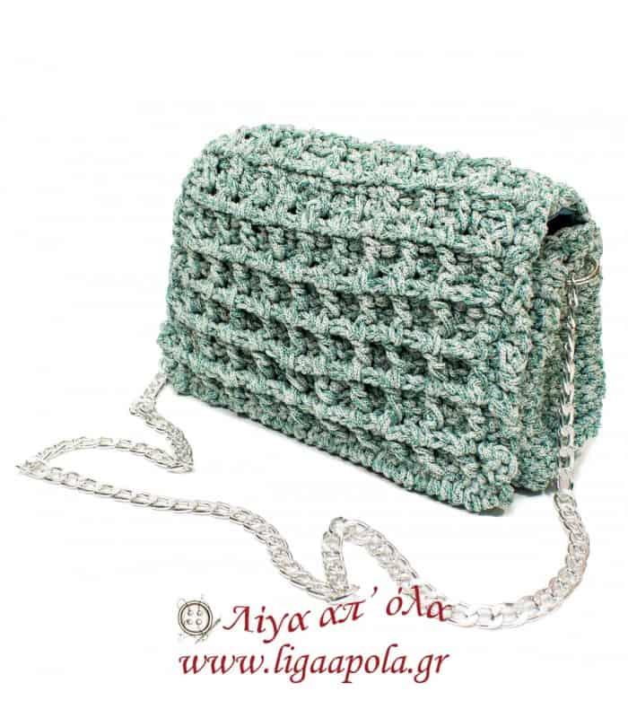 Τσάντα πλεκτή φάκελος πράσινο διχρωμία Handmade - Λίγα απ' όλα