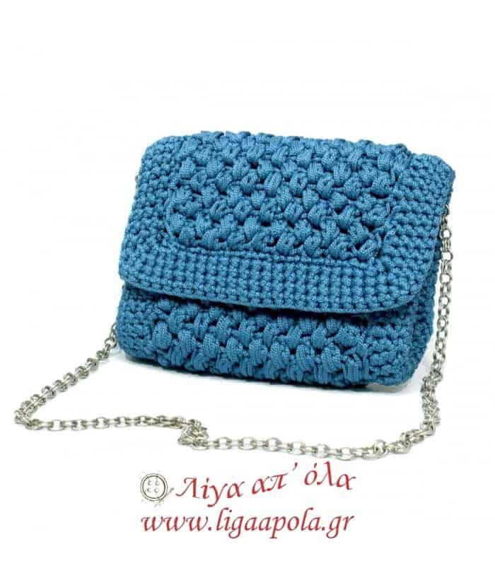 Τσάντα πλεκτή φάκελος μπλε ραφ Handmade - Λίγα απ' όλα