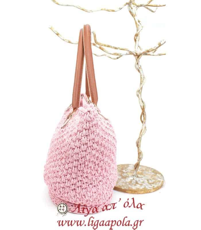 Τσάντα πλεκτή ροζ λάμψη CLASSIC Handmade - Λίγα απ' όλα