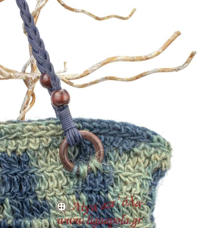 Τσάντα πλεκτή ΓΙΟΥΤΑ φυσικό χόρτο μπλε χακί Handmade - Λίγα απ' όλα