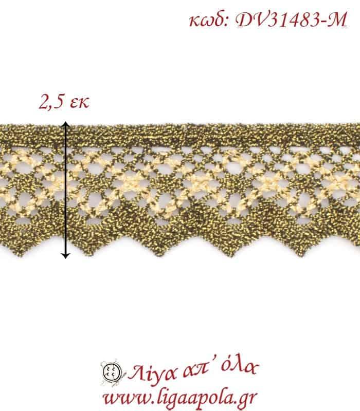 Δαντέλα κεντημάτων 2,5εκ Χρυσό διχρωμία - DV31483-M2