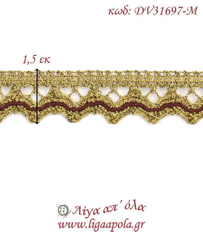 Δαντέλα κεντημάτων 1,5εκ Χρυσό μπορντό - DV31697-M4