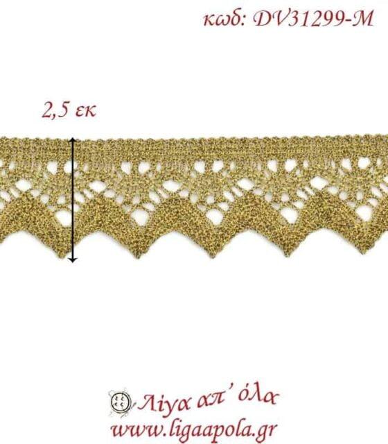 Δαντέλα κεντημάτων 2,5εκ Χρυσό διχρωμία - DV31299-M