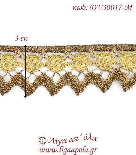 Δαντέλα κεντημάτων 3εκ Χρυσό διχρωμία - DV30017-M