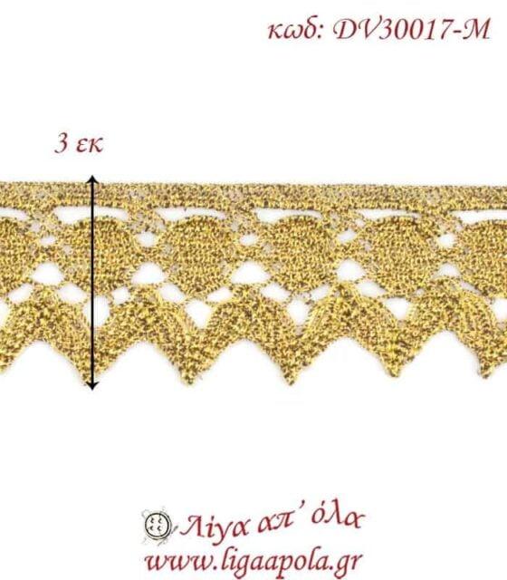 Δαντέλα κεντημάτων 3εκ Χρυσό - DV30017-M2