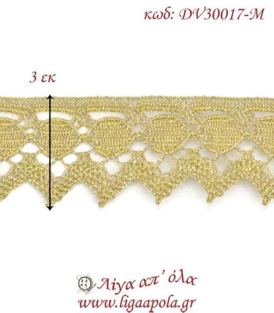 Δαντέλα κεντημάτων 3εκ Χρυσό ανοιχτό - DV30017-M3