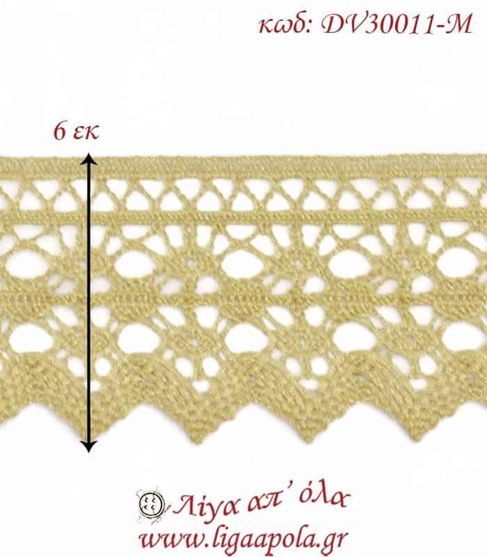 Δαντέλα κεντημάτων 6εκ Χρυσό - DV30011-M2