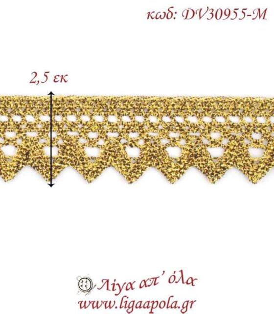 Δαντέλα κεντημάτων 2,5εκ Χρυσό - DV30955-Μ2