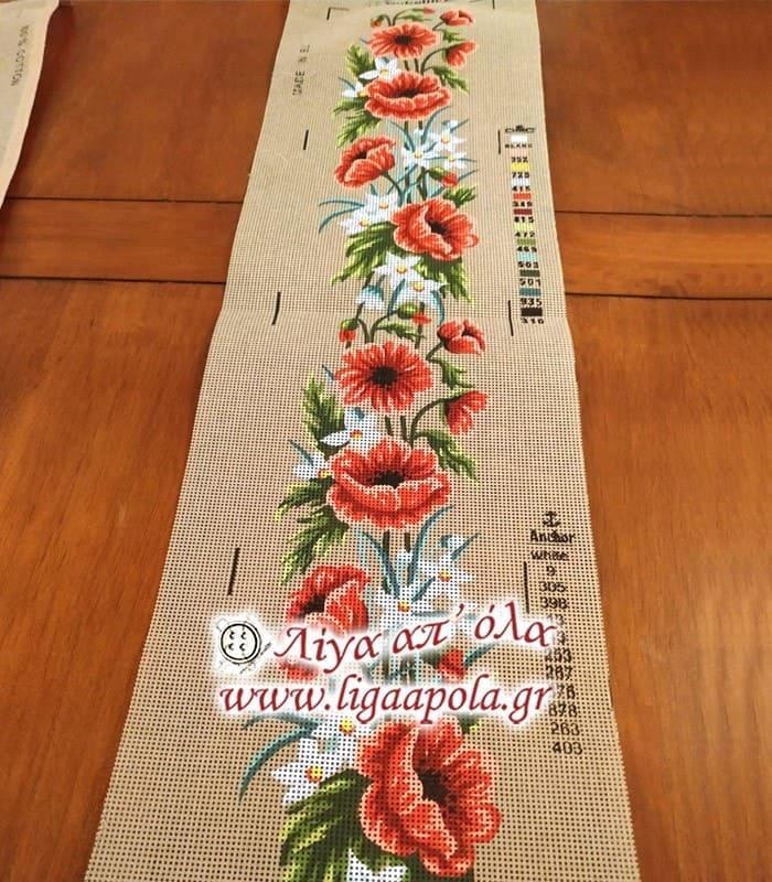 Σταμπωτό σεμέν κόκκινα λουλούδια 25x100 - Gobelin