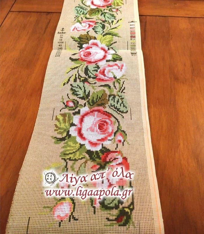 Σταμπωτό σεμέν ροζ τριαντάφυλλα 25x100 - Gobelin