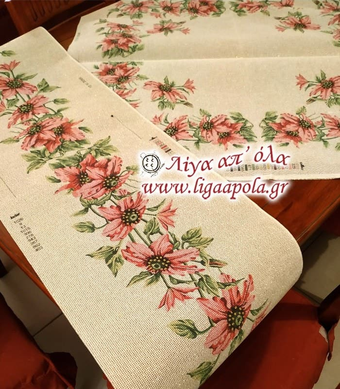 Σταμπωτό σεμέν τραβέρσα με ροζ λουλούδια 40x135 - Gobelin