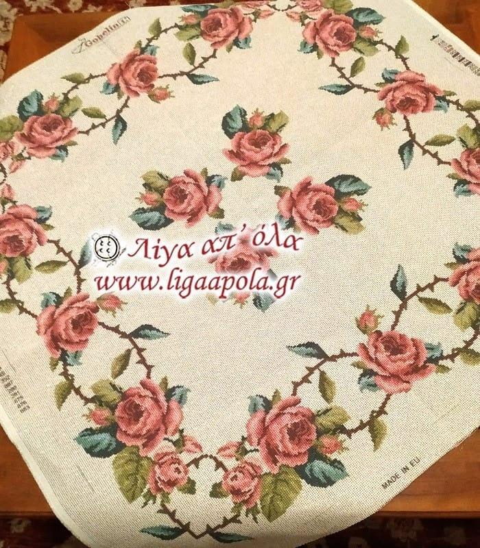 Σταμπωτό καρέ με ροζ τριαντάφυλλα 1μ x 1μ - Gobelin