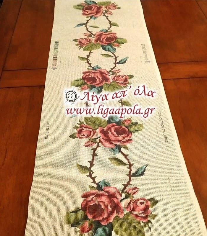 Σταμπωτό σεμέν τραβέρσα με ροζ τριαντάφυλλα 40x135 - Gobelin