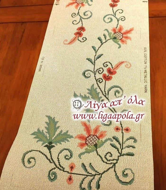 Σταμπωτό σεμέν τραβέρσα ροζ λουλούδια 40x135 - Gobelin