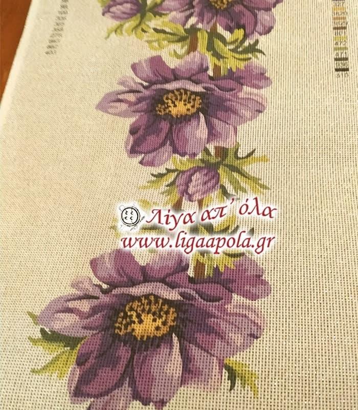 Σταμπωτό σεμέν τραβέρσα με μοβ λουλούδια 40x135 - Gobelin
