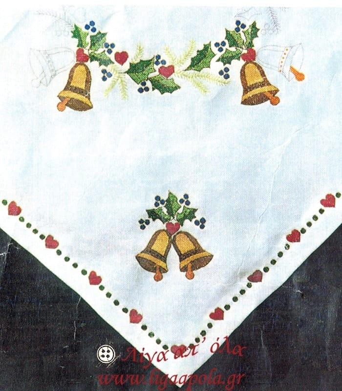Χριστουγεννιάτικο γραμμικό καρέ 105x105 σε ύφασμα κνωσός
