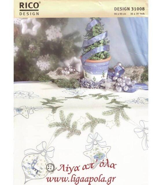 Ζωγραφισμένο χριστουγεννιάτικο καρέ 90x90 Rico Design 31008