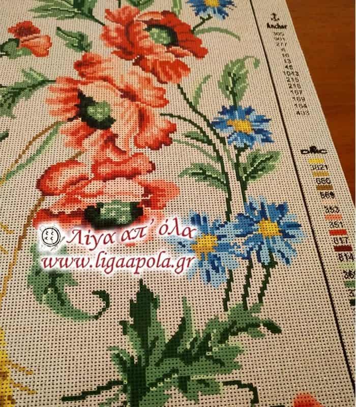 Σταμπωτό σεμέν κόκκινα μπλε λουλούδια 40x80 - Diamant