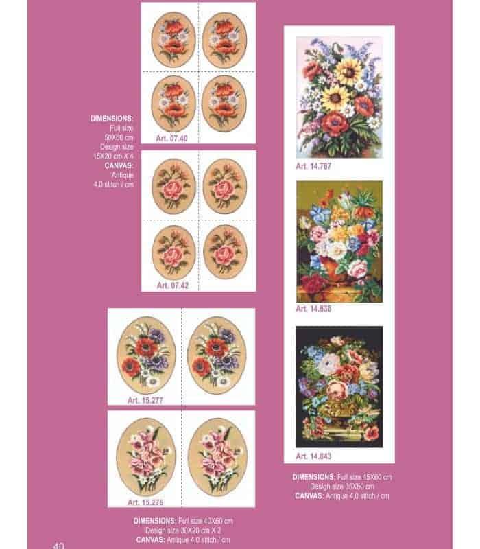 Λουλούδια και φρούτα - Σταμπωτά κάδρα για κέντημα - Gobelin