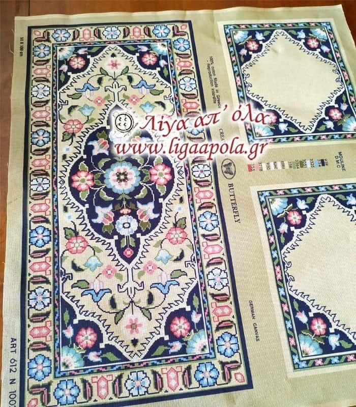 Σταμπωτό σεμέν 43X93 με 2 πετσετάκια 41X33 - Πεταλούδα Art612 N1002