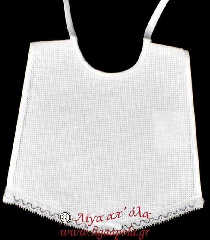 Σαλιάρα βαμβακερή ύφασμα κεντήματος φιογκάκι δαντέλα 17x15