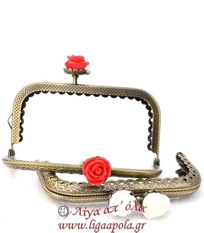 Μεταλλικό πλαίσιο Clutch 8,5εκ Τριαντάφυλλα τετραγωνισμένο