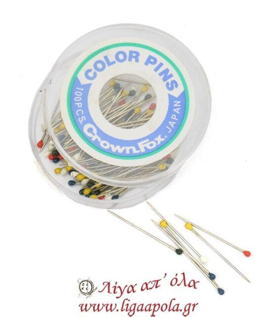 Καρφίτσες με χρωματιστό κεφαλάκι 100τεμ Λίγα απ' όλα - Πλέξιμο, Ράψιμο, Κέντημα