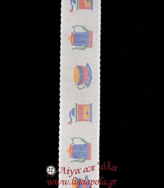 Σταμπωτή βαμβακερή φάσα για κέντημα AIDA 5εκ λευκό σχέδιο Κουζινικά Λίγα απ' όλα - Πλέξιμο, Ράψιμο, Κέντημα