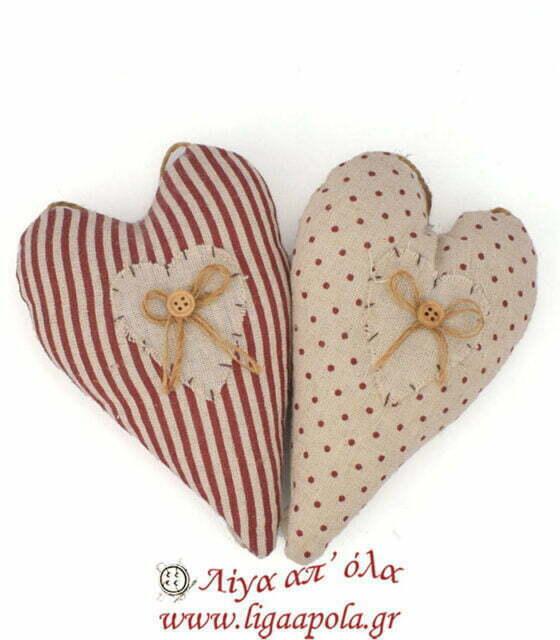 Υφασμάτινη πελότα σφουγγαράκι για καρφίτσες και βελόνες σε σχήμα καρδιάς Λίγα απ' όλα - Πλέξιμο, Ράψιμο, Κέντημα