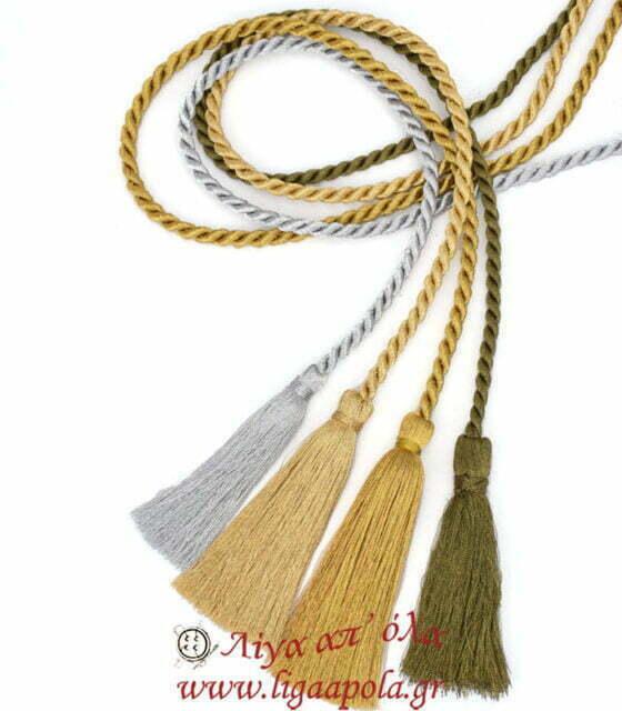 Δέστρα κουρτίνας με κορδόνι και φούντες χρυσοκλωστή 125εκ Λίγα απ' όλα - Πλέξιμο, Ράψιμο, Κέντημα