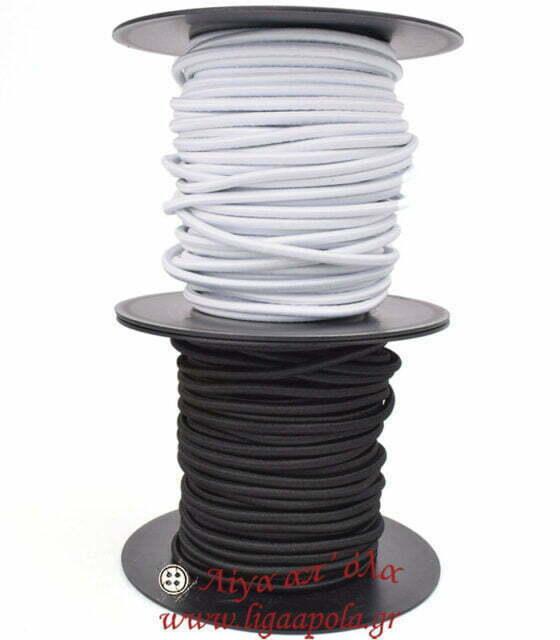 Λάστιχο χοντρό στρογγυλό 5χιλ μαύρο λευκό Λίγα απ' όλα - Πλέξιμο, Ράψιμο, Κέντημα